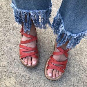 [Dansko] Lolita Coral Leather Comfort Sandals 7
